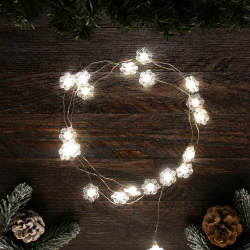 Гирлянда светодиодная нить Снежинка 20л 2м на батарейках постоянное свечение ЛЬДИНКА  200230 теплый белый