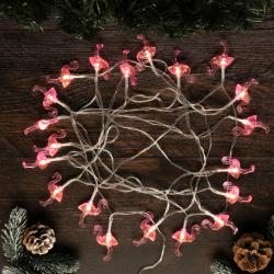 Гирлянда светодиодная нить Фламинго 20л 5м на батарейках постоянное свечение ЛЬДИНКА 200203  теплый белый