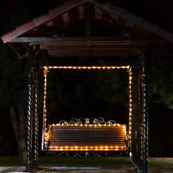 Гирлянда светодиодная нить 100л LED 10м уличная постоянное свечение ЛЬДИНКА 170861 теплый белый