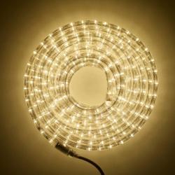 Украшение светодиодное LED Дюралайт шнур 24 лампы 10м 8 режимов ЛЬДИНКА 185704/2 теплый белый