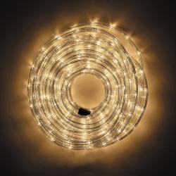 Украшение светодиодное LED Дюралайт шнур 24 лампы 20м 8 режимов ЛЬДИНКА 185705/2 теплый белый