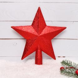Украшение Верхушка Звезда 22см пластик ЛЬДИНКА 183526 красный