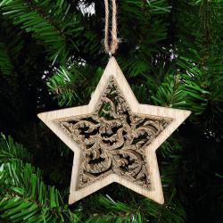 Украшение Звезда 13см дерево ЛЬДИНКА 183203 золото