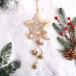 Украшение Звезда 27см дерево ЛЬДИНКА 183198 золото