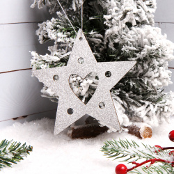 Украшение Звезда 12см дерево ЛЬДИНКА 183189 серебро