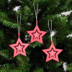 Набор украшений Звезды 8см 3шт дерево ЛЬДИНКА 183201 красный