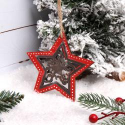 Украшение Звезда 11см дерево/сталь ЛЬДИНКА 183205 красный/серебро