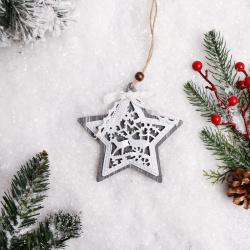 Украшение Звезда 13см дерево/сталь ЛЬДИНКА 183194 серый/белый