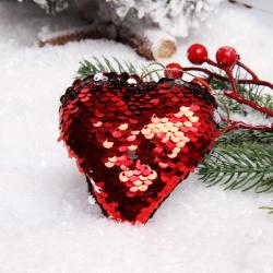 Украшение Сердце 8см пенопласт пайетки ЛЬДИНКА 183456 красный