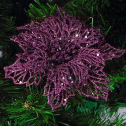Украшение Цветок 14см пластик на прищепке ЛЬДИНКА 203390/3 фиолетовый
