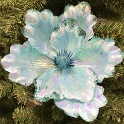Украшение Цветок 20см ЛЬДИНКА 183464/6/EY18404 голубой