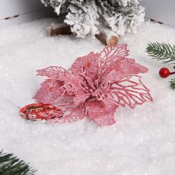 Украшение Цветок 17см пластик на прищепке ЛЬДИНКА 203392/2 розовый