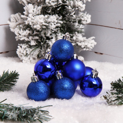 Набор украшений Шары 4см 12шт пластик ЛЬДИНКА 183283/Dmix-12 синий