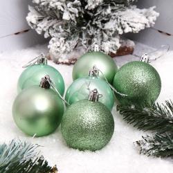 Набор украшений Шары 6см 6шт пластик ЛЬДИНКА 209822 светло-зеленый