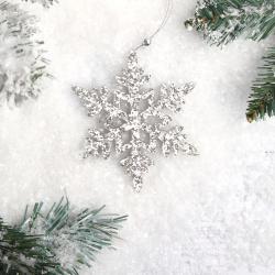 Украшение Снежинка 11см дерево ЛЬДИНКА 201258/2 серебро