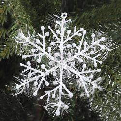 Набор украшений Снежинки, 8см, 3шт, ПВХ, цвет белый ЛЬДИНКА 170785-2