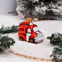 Украшение Фигура Пожарная машина 7см, стекло, рисунок VITUS А128