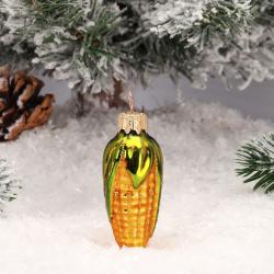 Украшение Фигура Кукуруза малая 6,5см, стекло, цвет золото Батик АУ-19