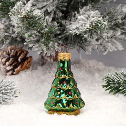 Украшение Фигура Елка 8см, стекло, цвет зеленый Батик ФУ-61035
