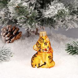 Украшение Фигура Тигренок 8см, стекло, цвет золото Батик ФУ-351