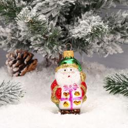 Украшение Фигура Дед Мороз с подарком 9см, стекло, рисунок Батик ФУ-510/18
