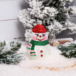 Украшение Фигурка Снеговик 8,5см стекло Елочка С362