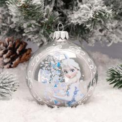 Украшение Шар Эльза снегопад 8,5см, стекло, рисунок, ассорти 5 видов Батик КУ-85-17435