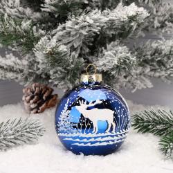 Украшение Шар Лось в зимнем лесу 8,5см, стекло, рисунок, цвет синий Батик КУ-85-212031