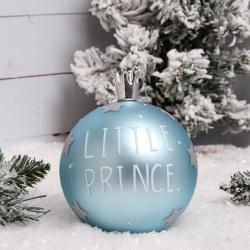 Украшение Шар Little prince 10см стекло ЛЬДИНКА 200093 голубой