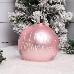 Украшение Шар Little princess 10см стекло ЛЬДИНКА 200094 розовый