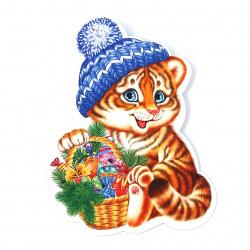 Плакат год Тигра фигурный, 12см, самоклеящийся, блестки, выборочное лакирование Мир открыток 7-66-5177А