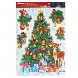 Наклейка ПВХ 33*50см Новогодняя елка Мир открыток 8-32-5021А