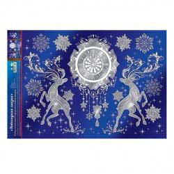 Наклейка фигурная пластизоль 34*50см Новогодняя сказка Мир открыток 8-31-5002А