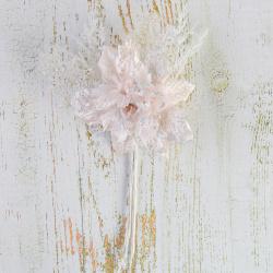 Украшение Цветок 25см пластик/текстиль ЛЬДИНКА 210043 светло-розовый