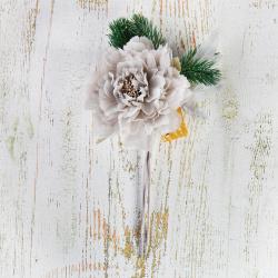 Украшение Цветок 28см пластик/текстиль ЛЬДИНКА 210046 серый