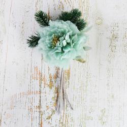 Украшение Цветок 28см пластик/текстиль ЛЬДИНКА 210047 голубой