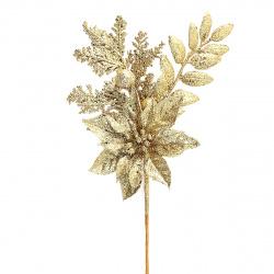 Украшение Цветок 40см пластик ЛЬДИНКА 183415/410329gold золото