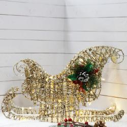 Фигура светодиодная Сани 32*48*20см металл от сети ЛЬДИНКА 209926 шампань
