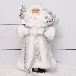 Украшение Кукла Дед Мороз 30см серебряный костюм Феникс-Презент 80154