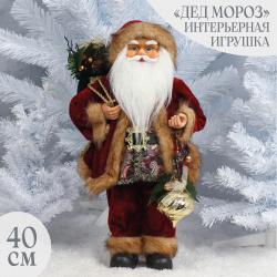 Украшение Кукла Дед Мороз 40см, красный ЛЬДИНКА 212396