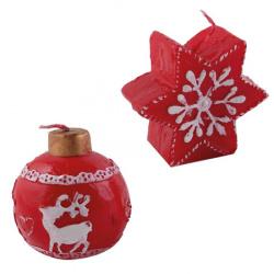 Свеча декоративная Рождественская 6см ЛЬДИНКА 180418 ассорти 2 вида