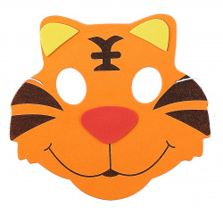 Маска карнавальная Тигр 17*18см EVA КОКОС 184625 оранжевая