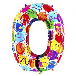Шар воздушный фольга, 101,6см, рисунок, цвет рисунок, 1шт Цифра 0 GRABO 1207-2088