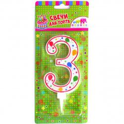 Свеча для торта Цифра 3, 11см, 1шт Шарики Микрос Ч16553