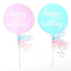 Топпер картон 15см Happy Birthday КОКОС 206879 ассорти 2 вида