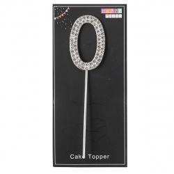 Топпер пластик 4см Цифра 0 Cтразы КОКОС 205535/0 серебро