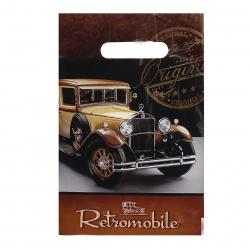 Пакет подарочный 20*30см ПВХ 30мкм Ретромобиль прорубная ручка 134652 упаковка 100шт