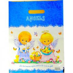 Пакет подарочный Ангелочки 310*400мм, ПВХ, толщина 60мкм, ручка прорубная, рисунок Интерпак