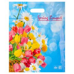 Пакет подарочный Корзинка цветов 320*400мм, ПВХ, толщина 30мкм, ручка прорубная, рисунок Интерпак