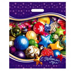 Пакет подарочный 40*47*8см ПВХ 45мкм Новогодние игрушки прорубная ручка Интерпак 135250 упаковка 50шт